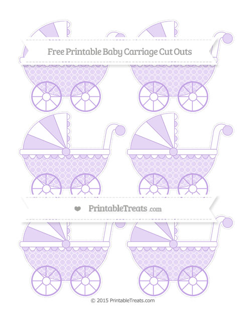 Free Pastel Purple Quatrefoil Pattern Small Baby Carriage Cut Outs