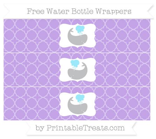 Free Pastel Purple Quatrefoil Pattern Whale Water Bottle Wrappers