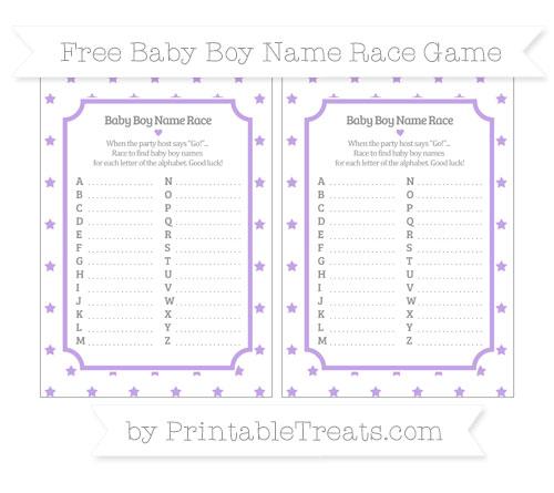 Free Pastel Purple Star Pattern Baby Boy Name Race Game