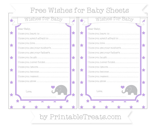 Free Pastel Purple Star Pattern Baby Elephant Wishes for Baby Sheets
