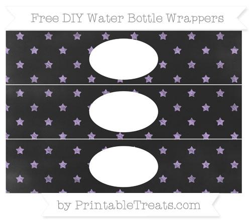 Free Pastel Purple Star Pattern Chalk Style DIY Water Bottle Wrappers