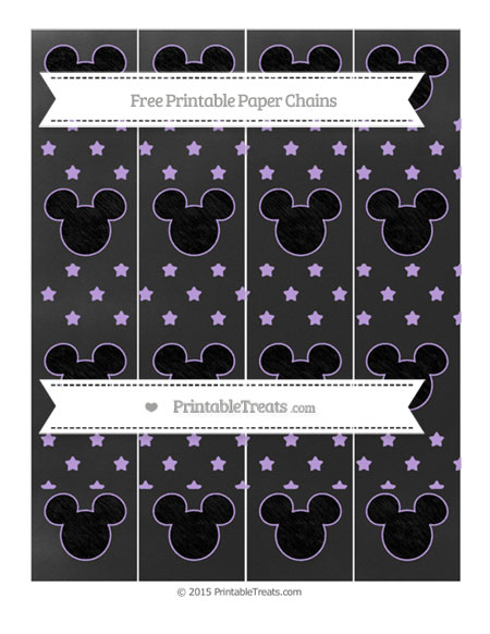 Free Pastel Purple Star Pattern Chalk Style Mickey Mouse Paper Chains