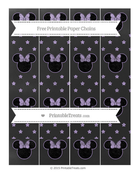 Free Pastel Purple Star Pattern Chalk Style Minnie Mouse Paper Chains