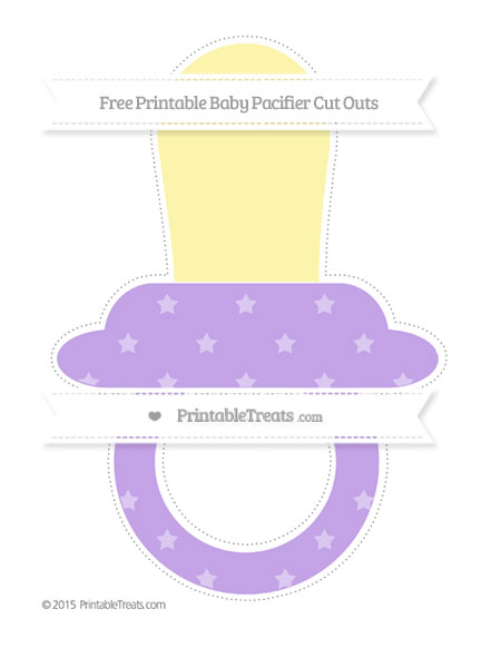Free Pastel Purple Star Pattern Extra Large Baby Pacifier Cut Outs