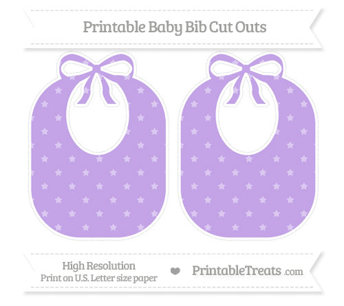 Free Pastel Purple Star Pattern Large Baby Bib Cut Outs