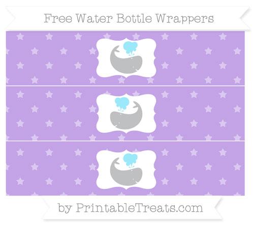 Free Pastel Purple Star Pattern Whale Water Bottle Wrappers