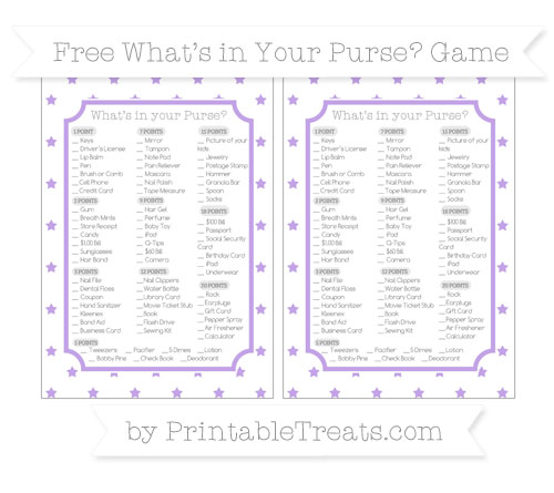 Free Pastel Purple Star Pattern What's in Your Purse Baby Shower Game