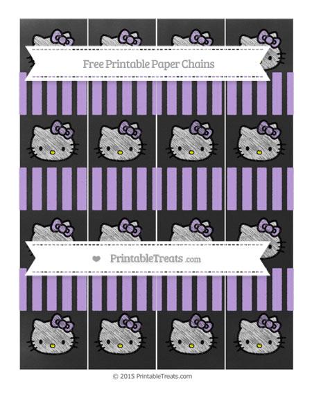 Free Pastel Purple Striped Chalk Style Hello Kitty Paper Chains