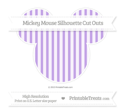 Free Pastel Purple Striped Extra Large Mickey Mouse Silhouette Cut Outs