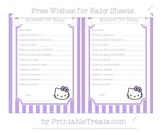 Free Pastel Purple Striped Hello Kitty Wishes for Baby Sheets