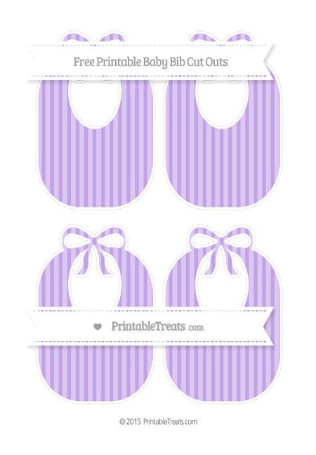 Free Pastel Purple Striped Medium Baby Bib Cut Outs