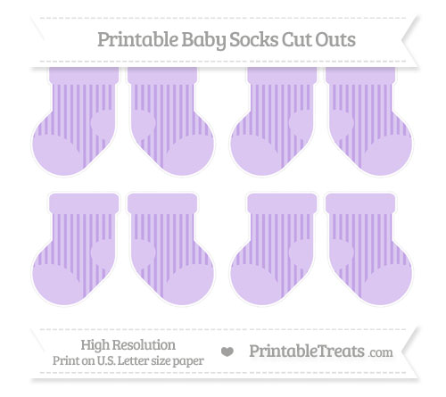 Free Pastel Purple Striped Small Baby Socks Cut Outs