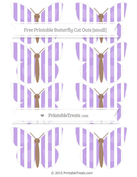 Free Pastel Purple Striped Small Butterfly Cut Outs