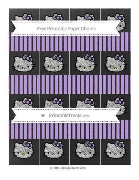 Free Pastel Purple Thin Striped Pattern Chalk Style Hello Kitty Paper Chains