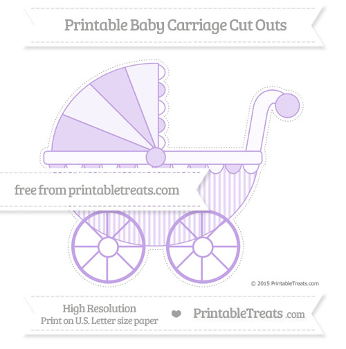 Free Pastel Purple Thin Striped Pattern Extra Large Baby Carriage Cut Outs