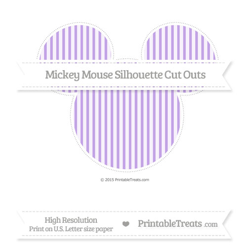 Free Pastel Purple Thin Striped Pattern Extra Large Mickey Mouse Silhouette Cut Outs