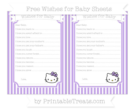 Free Pastel Purple Thin Striped Pattern Hello Kitty Wishes for Baby Sheets
