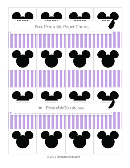 Free Pastel Purple Thin Striped Pattern Mickey Mouse Paper Chains