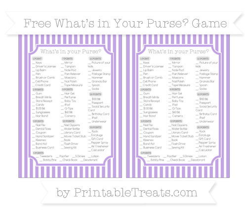 Free Pastel Purple Thin Striped Pattern What's in Your Purse Baby Shower Game