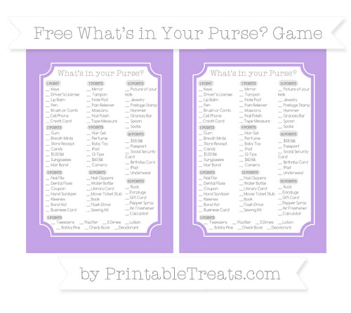 Free Pastel Purple What's in Your Purse Baby Shower Game