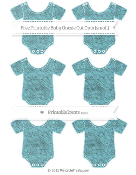 Free Pastel Teal Chalk Style Small Baby Onesie Cut Outs