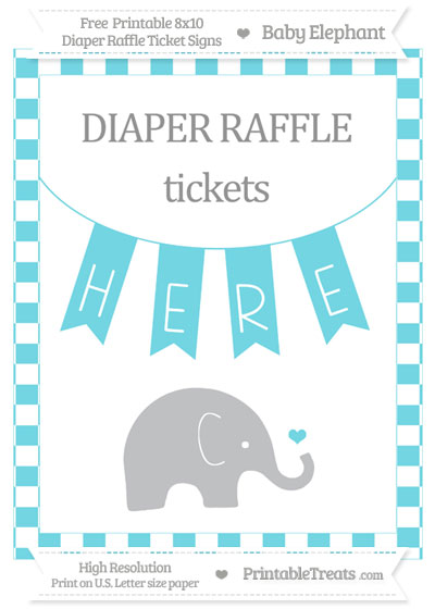 Free Pastel Teal Checker Pattern Baby Elephant 8x10 Diaper Raffle Ticket Sign