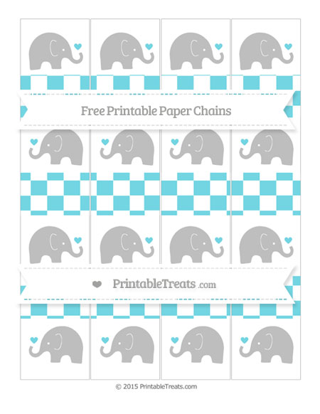 Free Pastel Teal Checker Pattern Baby Elephant Paper Chains