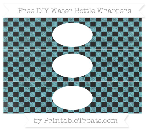 Free Pastel Teal Checker Pattern Chalk Style DIY Water Bottle Wrappers