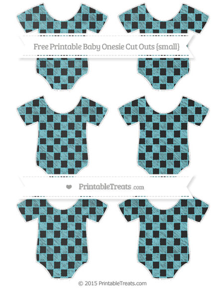 Free Pastel Teal Checker Pattern Chalk Style Small Baby Onesie Cut Outs