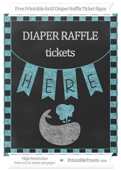 Free Pastel Teal Checker Pattern Chalk Style Whale 8x10 Diaper Raffle Ticket Sign