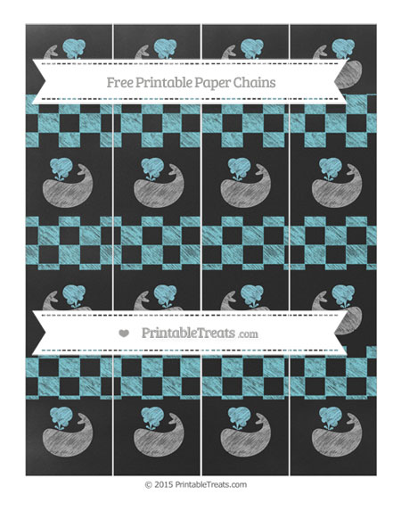Free Pastel Teal Checker Pattern Chalk Style Whale Paper Chains