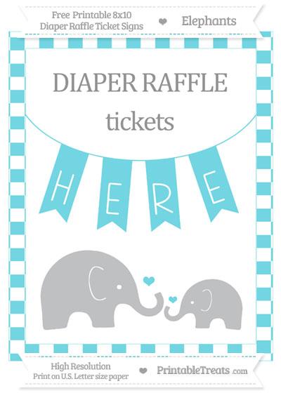 Free Pastel Teal Checker Pattern Elephant 8x10 Diaper Raffle Ticket Sign