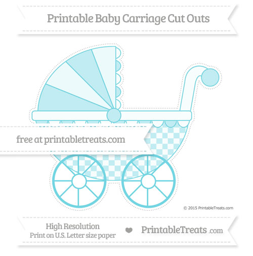 Free Pastel Teal Checker Pattern Extra Large Baby Carriage Cut Outs