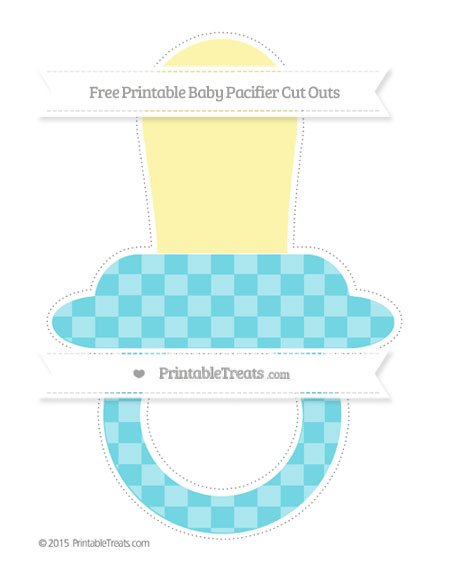 Free Pastel Teal Checker Pattern Extra Large Baby Pacifier Cut Outs