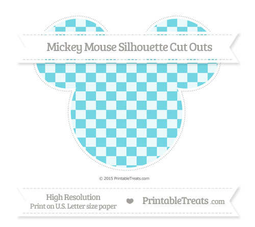 Free Pastel Teal Checker Pattern Extra Large Mickey Mouse Silhouette Cut Outs