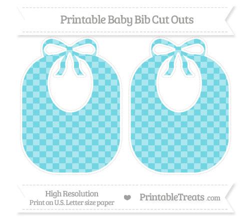 Free Pastel Teal Checker Pattern Large Baby Bib Cut Outs