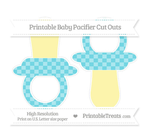 Free Pastel Teal Checker Pattern Large Baby Pacifier Cut Outs