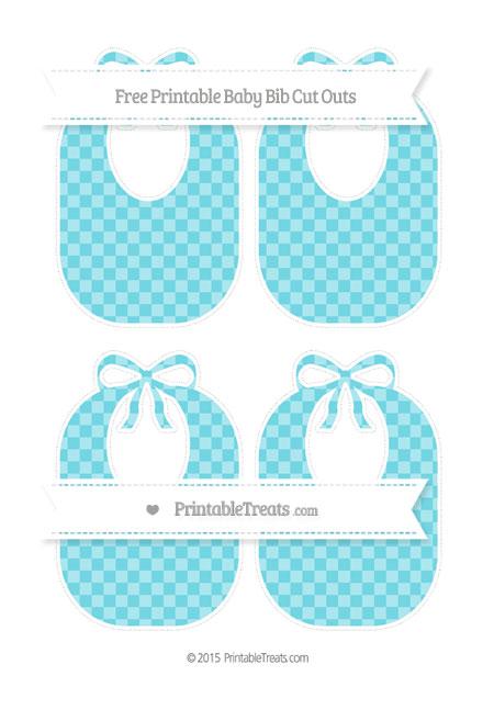 Free Pastel Teal Checker Pattern Medium Baby Bib Cut Outs