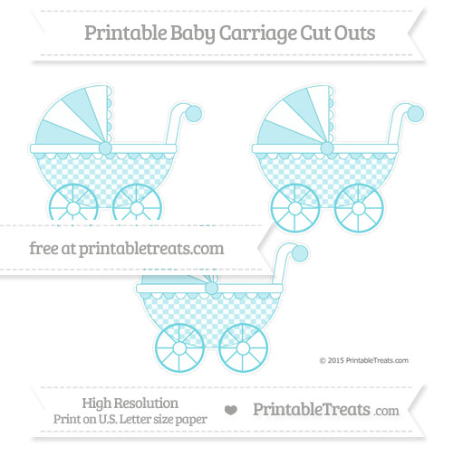 Free Pastel Teal Checker Pattern Medium Baby Carriage Cut Outs