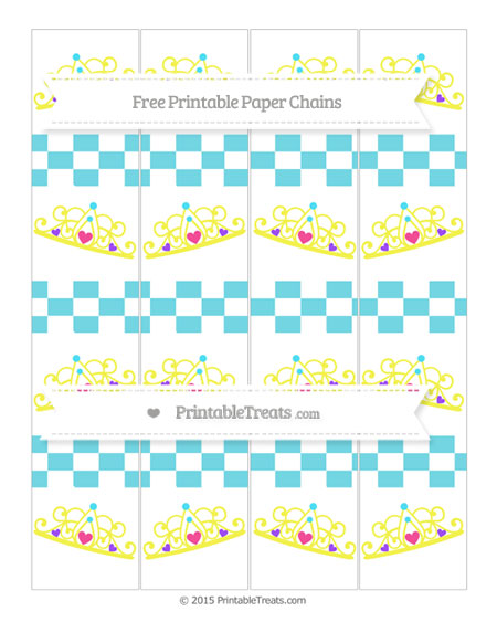 Free Pastel Teal Checker Pattern Princess Tiara Paper Chains