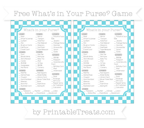 Free Pastel Teal Checker Pattern What's in Your Purse Baby Shower Game