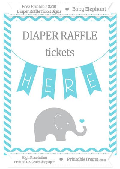 Free Pastel Teal Chevron Baby Elephant 8x10 Diaper Raffle Ticket Sign