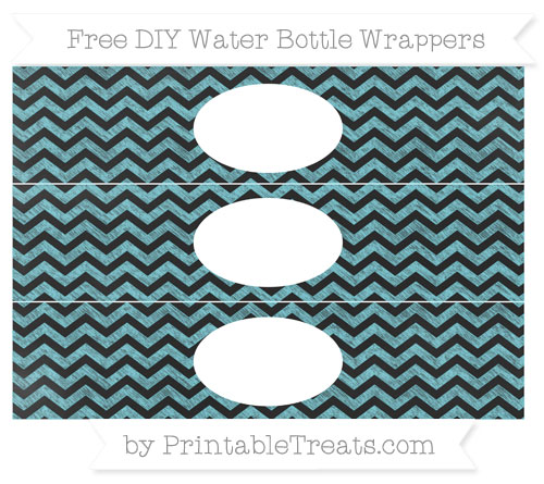 Free Pastel Teal Chevron Chalk Style DIY Water Bottle Wrappers