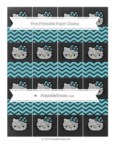 Free Pastel Teal Chevron Chalk Style Hello Kitty Paper Chains