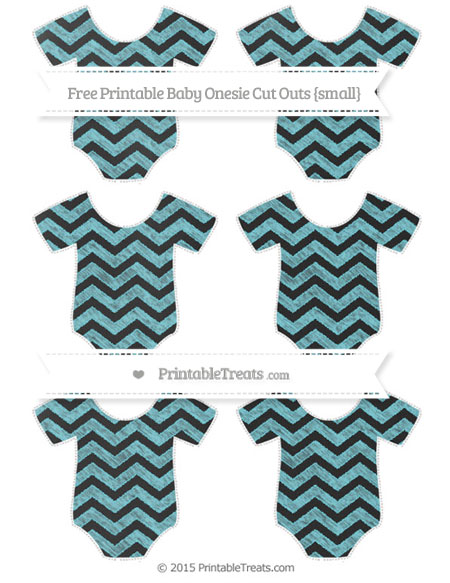 Free Pastel Teal Chevron Chalk Style Small Baby Onesie Cut Outs