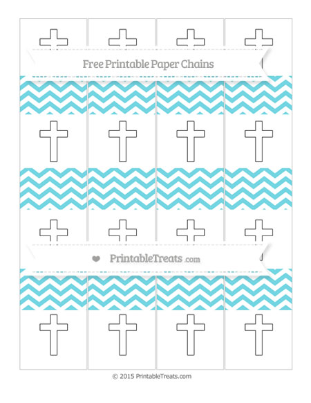 Free Pastel Teal Chevron Cross Paper Chains