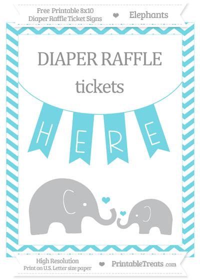 Free Pastel Teal Chevron Elephant 8x10 Diaper Raffle Ticket Sign