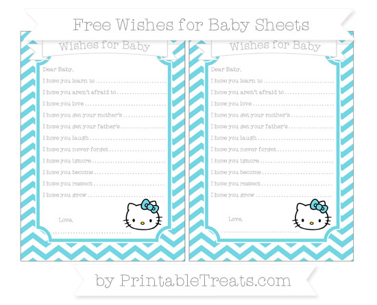 Free Pastel Teal Chevron Hello Kitty Wishes for Baby Sheets