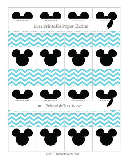 Free Pastel Teal Chevron Mickey Mouse Paper Chains