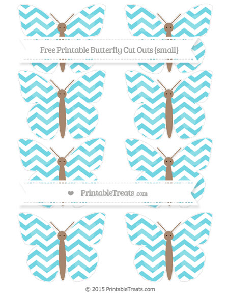 Free Pastel Teal Chevron Small Butterfly Cut Outs